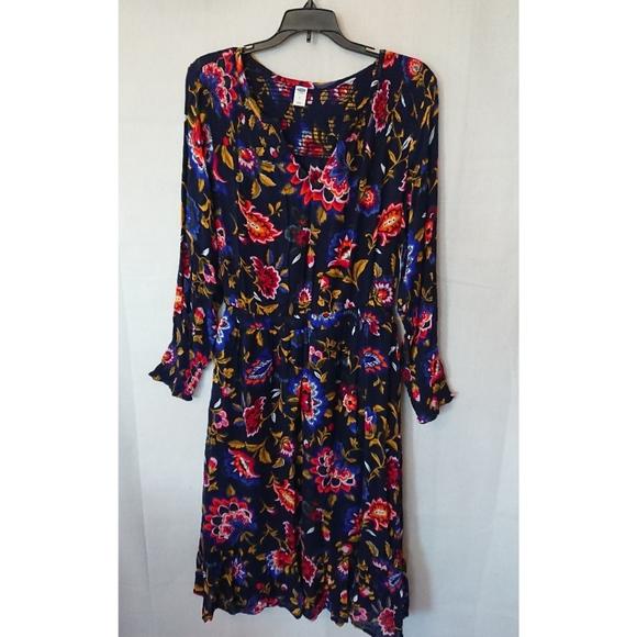 7ae4fa256d Old Navy Dresses | Royal Blue Long Sleeve Floral Dress | Poshmark